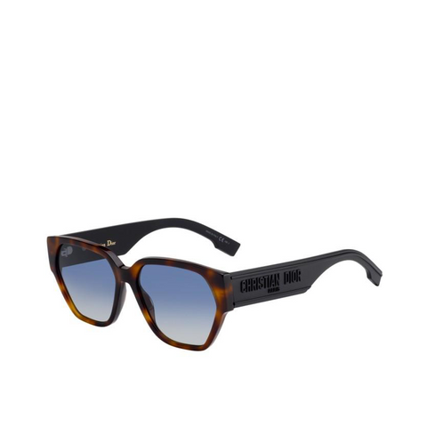 """Dior ID 1"" Dark Havana/Blue Shaded Sunglasses"