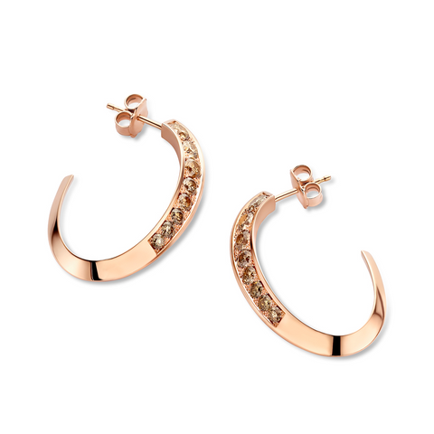"""FLOW"" PINK GOLD & BROWN DIAMOND EARRINGS"