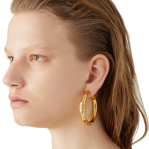 """CARABINER 1"" GOLD-TONED MONO EARRING"