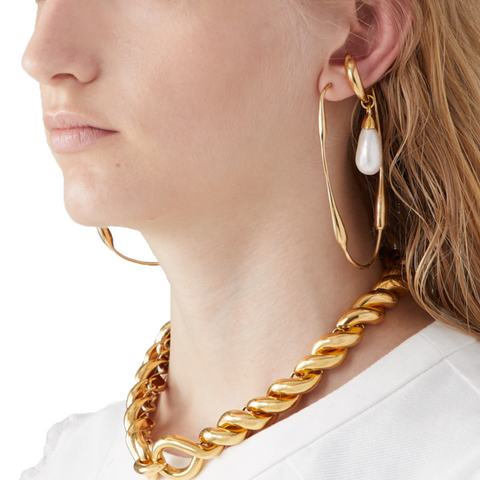 """Sculptural "" Gold Mono Earring"