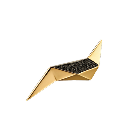 """CARIOCA"" YELLOW GOLD & BLACK DIAMOND EARRINGS"