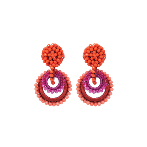 "MINI ""SUNDROP"" RED / FUCHSIA / CORAL EARRINGS"