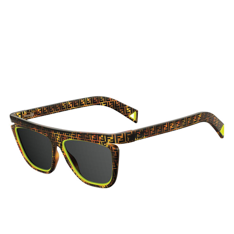 """FFLUO"" NEON YELLOW / HAVANA BROWN SUNGLASSES"