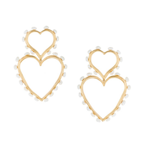 """Double Heart Statement Pearl Earrings"""