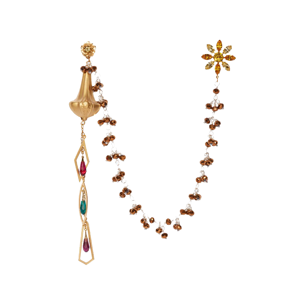 """Drop Earrings with Bronze Bead Drape and Flower Stud"""