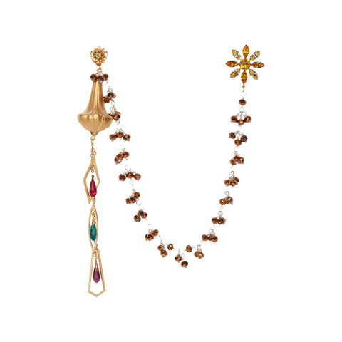 """DROP"" EARRINGS WITH BRONZE BEAD DRAPE & FLOWER STUD"