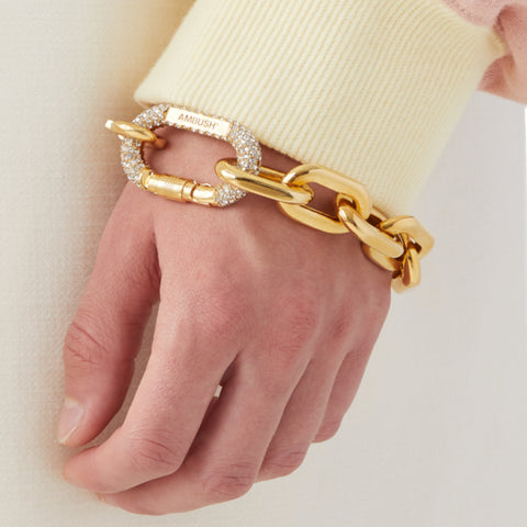 """Mix Chain Bracelet Crystal"" Gold"