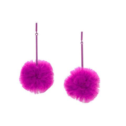 """Fuchsia 2"" Tulle Pom Pom Earrings"""