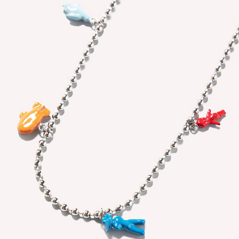 ENAMELLED METAL CHARM NECKLACE