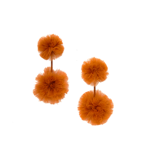 """Pheasant Tulle Double Pom Pom Earrings"""