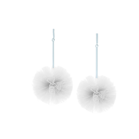"""White 2"" Tulle Pom Pom Earrings"""