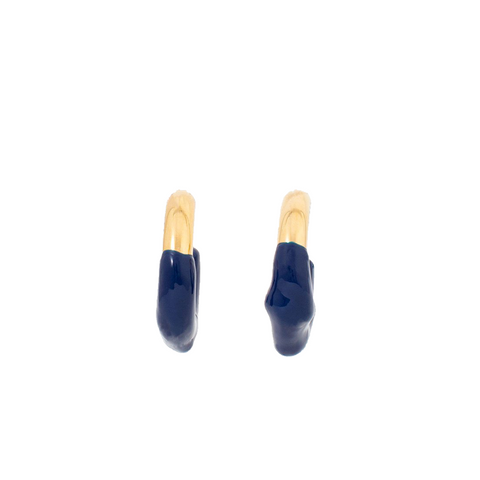 """RUBBERIZED"" DARK BLUE & GOLD BRASS EARRINGS"