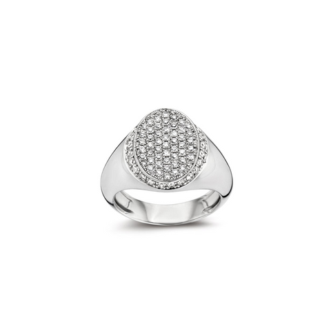 """SIGNET"" WHITE DIAMOND & WHITE GOLD RING"