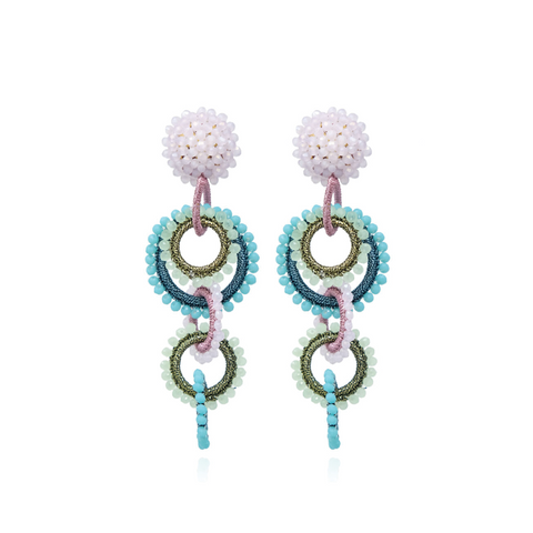 """Salento Green / Pink / Turquoise"" Earrings"