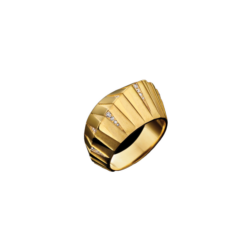 """THEBES"" YELLOW GOLD & WHITE DIAMOND RING"