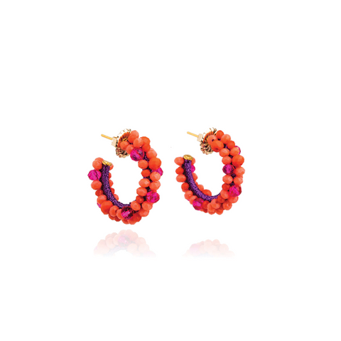 """Big Bouquet Hoop Fuchsia"" Earrings"