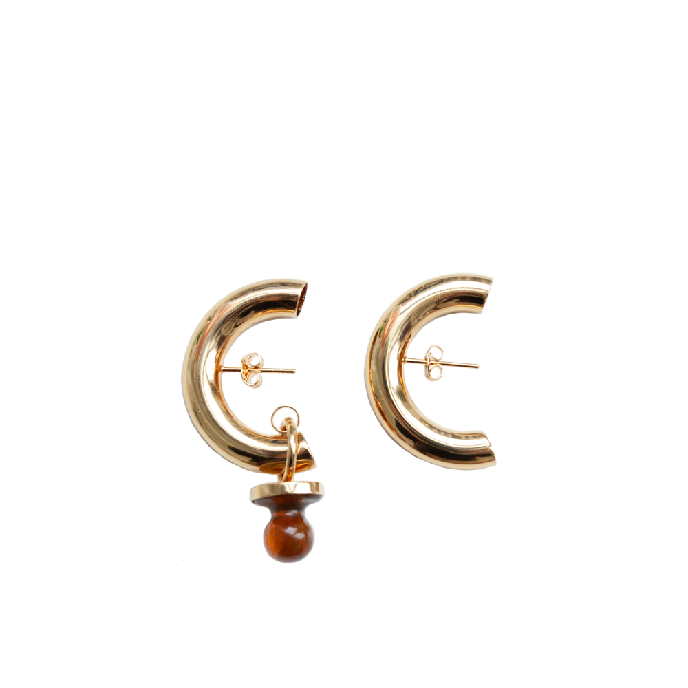 """Small Dummy Cut Earrings"" Gold Stone Gost"