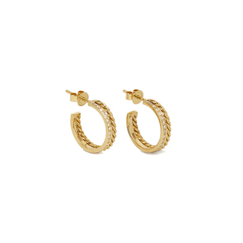 """Slice Rope Hoop Earrings"" 18K Siam Yellow Gold"