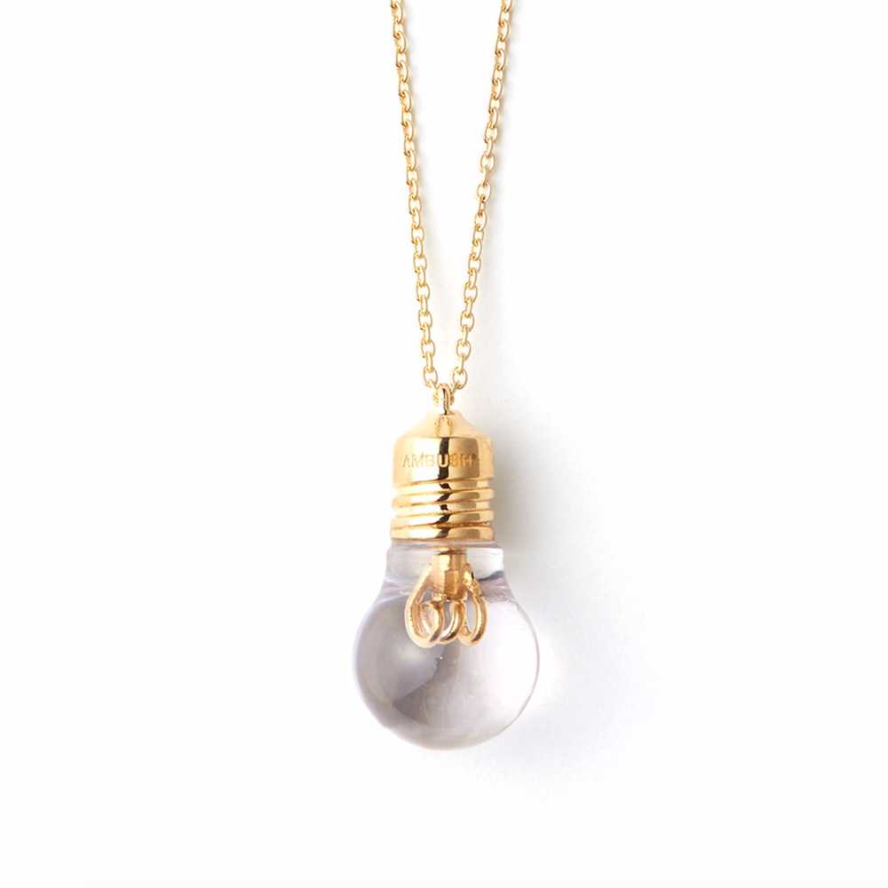"""Light Bulb Charm Necklace"" Silver"