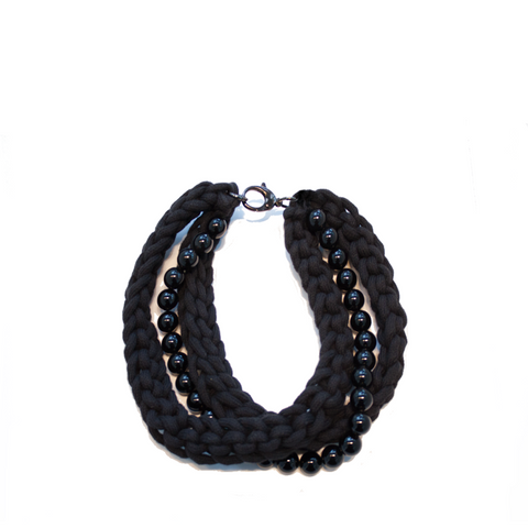 """SELMA"" BLACK ROPE NECKLACE"