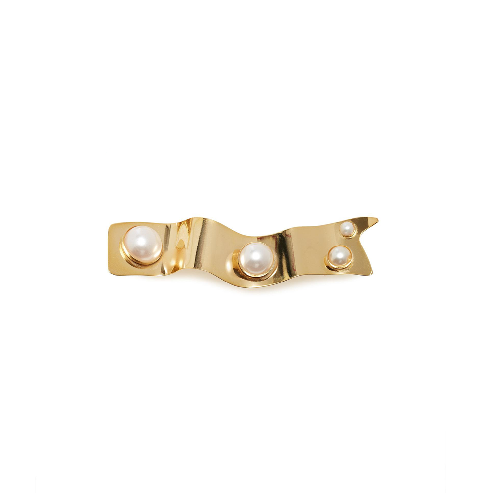 """Gold with pearl details"" mono hair clip"