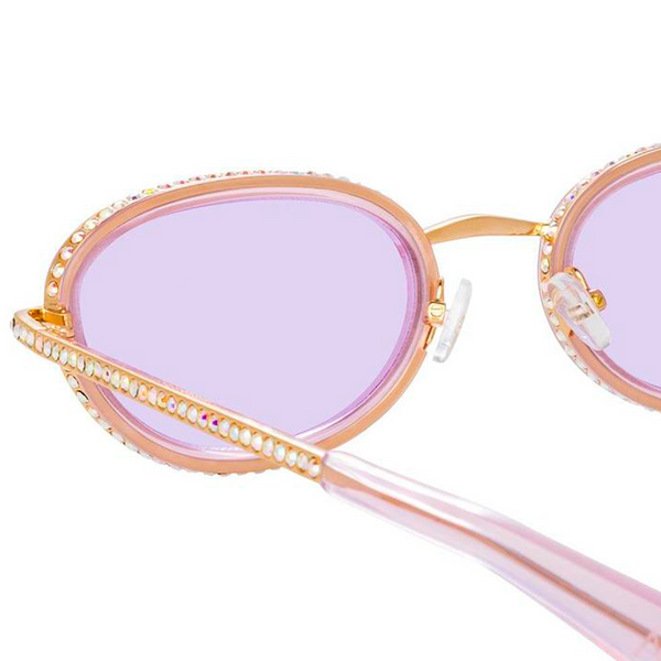 AREA X LINDA FARROW LIGHT PINK & GOLD OVAL SUNGLASSES