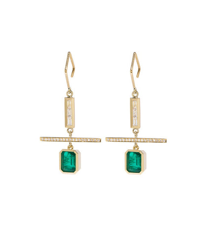 """Emerald Nesw Diamond"" Earrings"