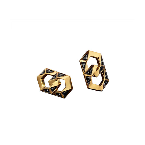 """BOND"" YELLOW GOLD & BLACK DIAMONDS SIGNATURE STUD EARRINGS"