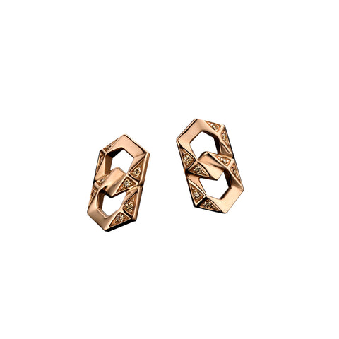 """BOND"" ROSE GOLD & BROWN DIAMONDS SIGNATURE STUD EARRINGS"