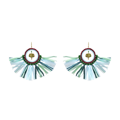 """BRAZIL AQUA"" STRAW EARRINGS"