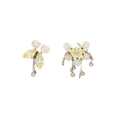"""Butterfly Pink and Yellow Diamond"" Earrings"