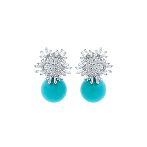 """Baguette Turquoise"" Swarovski Pair Earrings"
