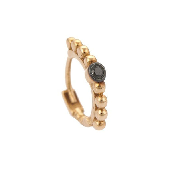 """Ball Beaded Tiny Hoop Earring Black Diamond"""