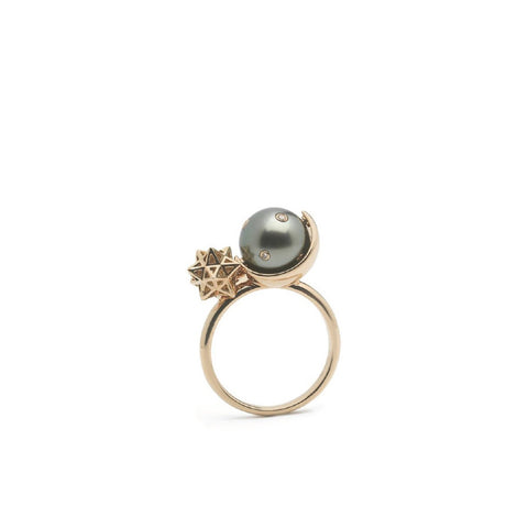 """Spinning Pearl"" 18k Yellow Gold Ring"