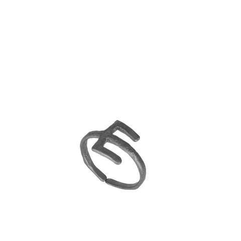 """Alphabet E"" Black Silver Ring"