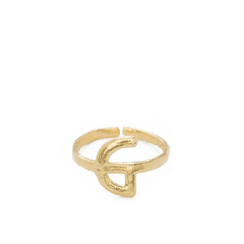"""Alphabet G"" Yellow Gold Ring"
