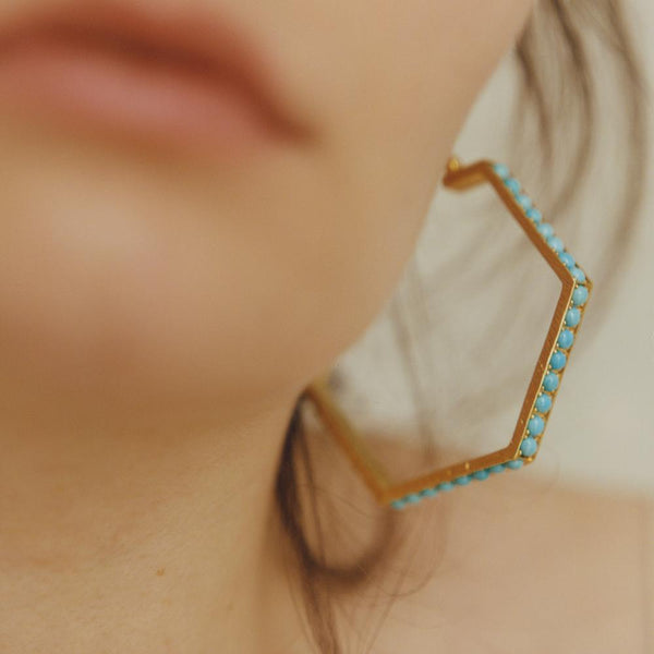 """Blue Hexagon Hoops III"" 18K Gold Earrings"
