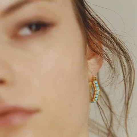 """Blue Hexagon Hoops I"" 18K Gold Earrings"