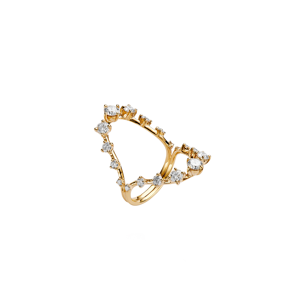 """Brilliant"" 18k Yellow Gold and Diamonds Ring"