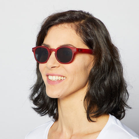"""C"" Red Crystal Sunglasses"