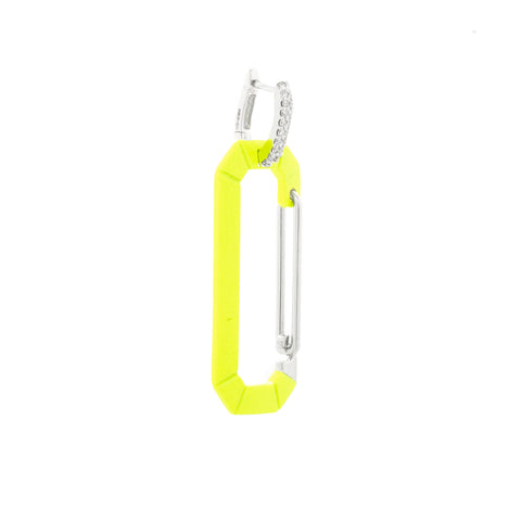 """CHIARA"" BIG FLUO YELLOW & WHITE GOLD MONO EARRING WITH DIAMONDS"