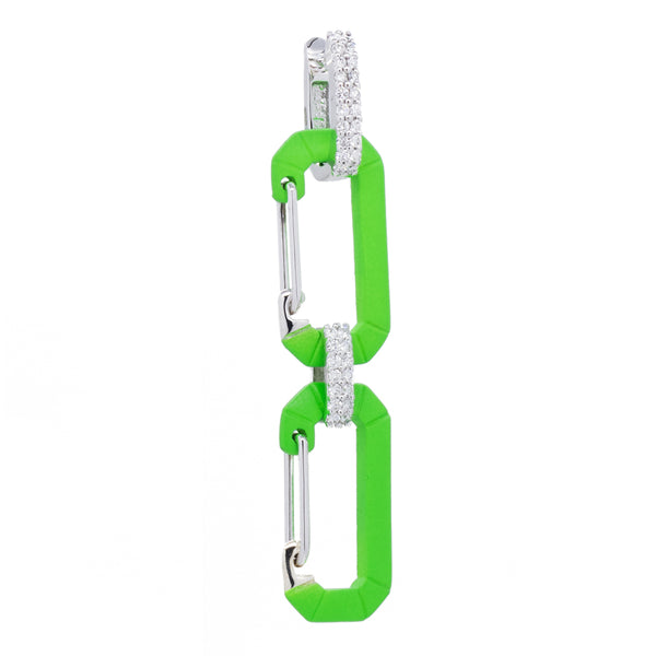 """CHIARA"" SMALL FLUO GREEN & WHITE GOLD DOUBLE CARABINER EARRINGS WITH DIAMONDS"