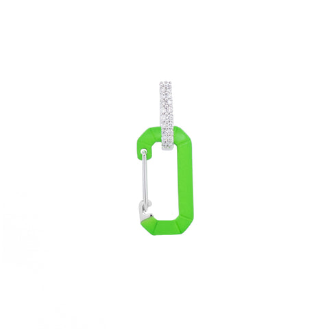 """CHIARA"" SMALL FLUO GREEN & WHITE GOLD MONO EARRING WITH DIAMONDS"