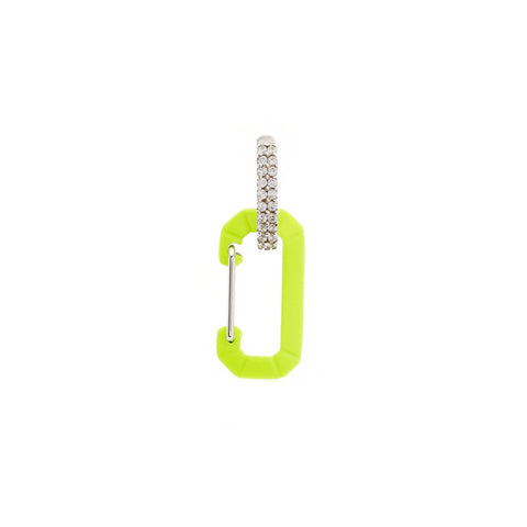"""CHIARA"" SMALL FLUO YELLOW & WHITE GOLD MONO EARRING WITH DIAMONDS"