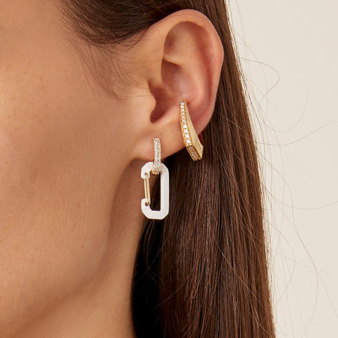 """CHIARA"" SMALL WHITE & YELLOW GOLD MONO EARRING WITH DIAMONDS"