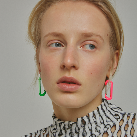 """CHIARA FLUO BIG FUSCHIA"" EARRING"