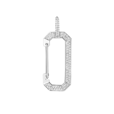 """CHIARA"" BIG FULL DIAMOND PAVÉ & WHITE GOLD MONO EARRING"