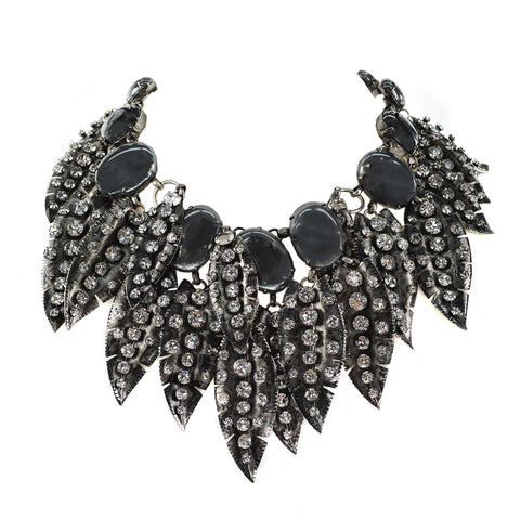 """Hematite Leaf Choker"" Necklace"
