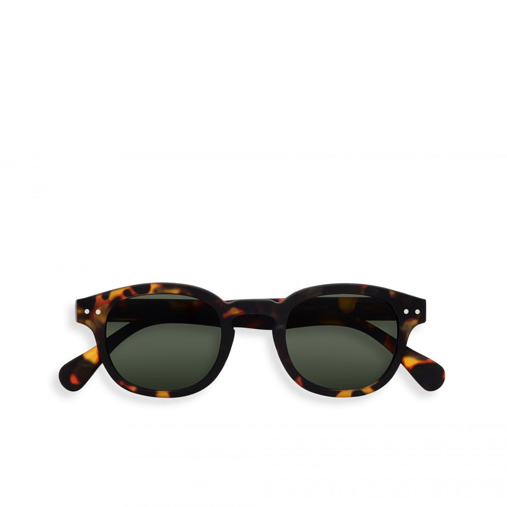 """C"" Tortoise Green Lenses Sunglasses"