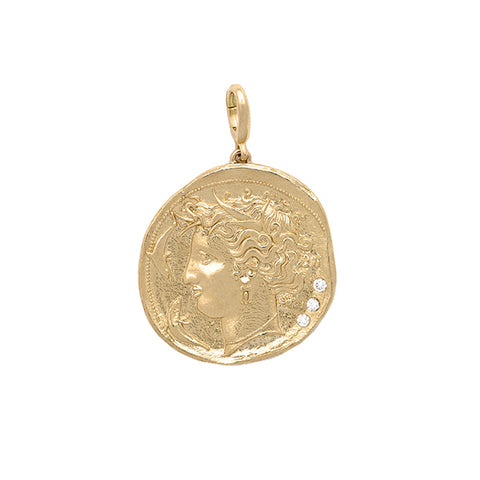 """Goddess Large Diamond Coin"" Charm"